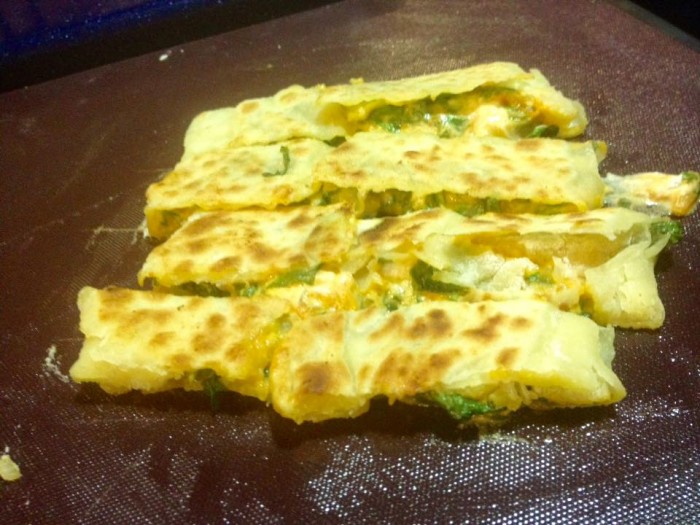 Gozleme, Anatolian flat breads with spinach and cheese, another very popular dish from our Turkich cookery course