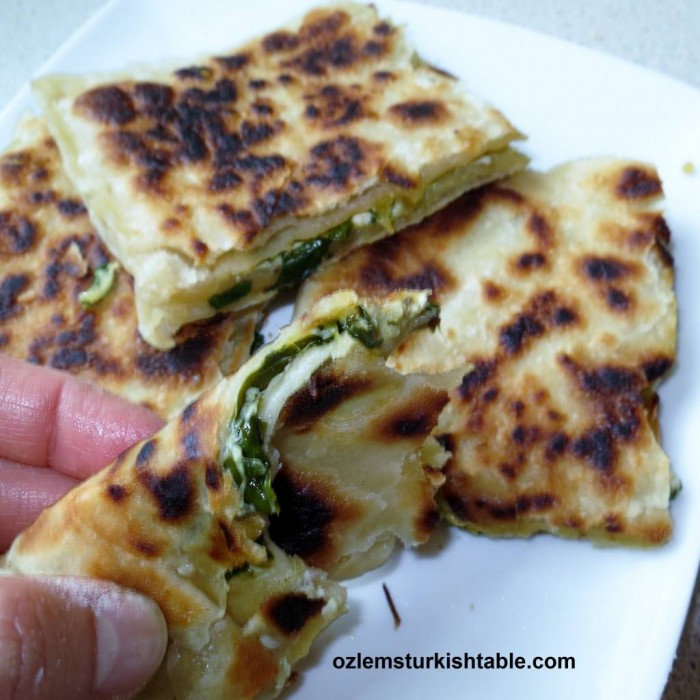 Anatolian flat breads with cheese and spinach, Ispanakli Peynirli Gozleme, at our Turkish brunch cookery class