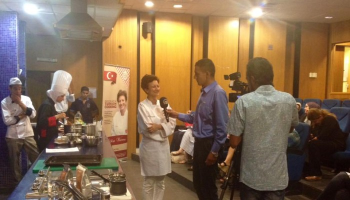 TV interview during our Turkish cookery course in Amman.