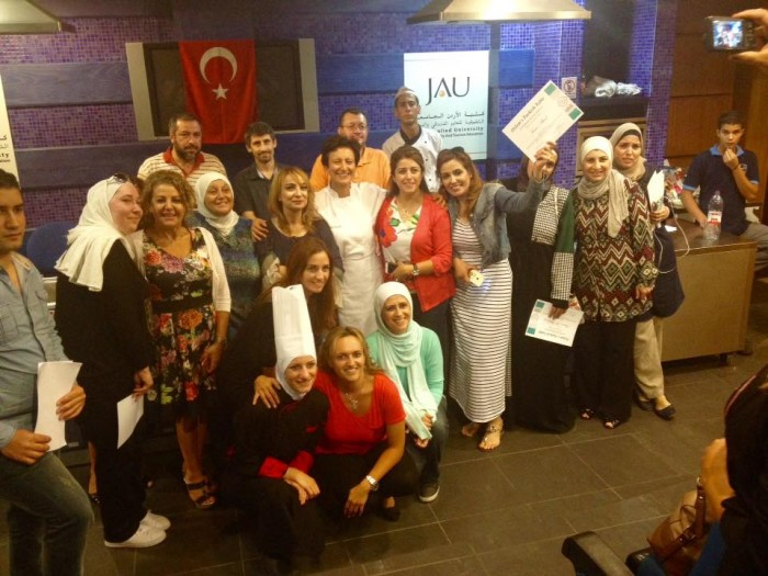 Giving certificates to the participants of our Turkish cookery course