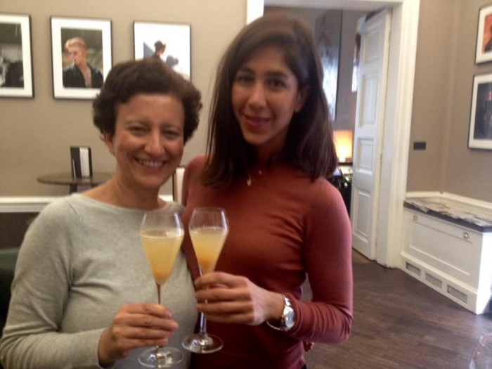 Testing Bellinis with Turkish bubbly Yasasin with Melisa Atay, from Melisa Fine Brands.